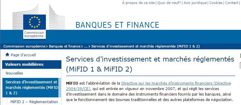 Mifid: régulateur commun à l'Europe