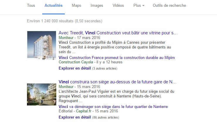 Des nouvelles qui « stimulent bien » l'action Vinci