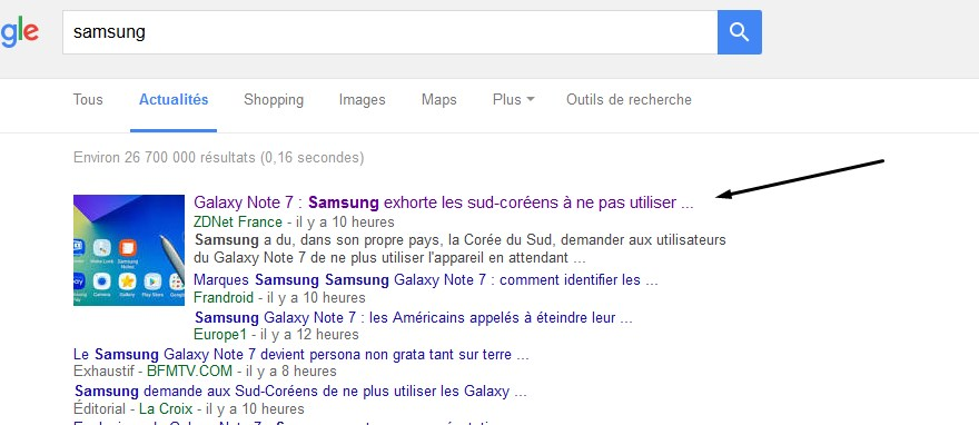 actualité importante pour l'action Samsung